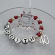 40th Birthday Personalised Wine Glass Charm - Full Bead Style